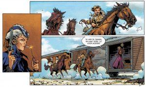 De aankomst van een trein, pagina 7 uit Het wilde westen 1 - De lelietuin, Silvester Strips 2018