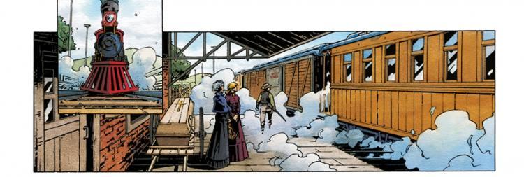 De aankomst van een trein, pagina 5 uit Het wilde westen 1 - De lelietuin, Silvester Strips 2018